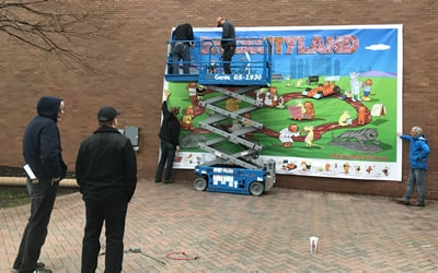 Setting up the BrickCityLand mural