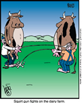 cartoon of cows squirting milk