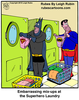 Bat Man and Super Man with mixed up laundry