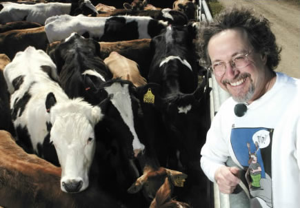 Leigh and his favorite subject - Cows