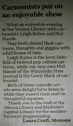 Verona Library review of Cartoon show